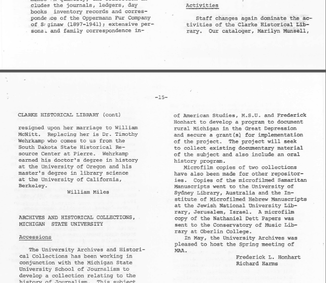 Portion of pages 14 and 15 from the Summer 1978 issue.
