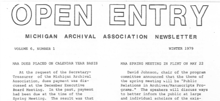 Portion of Page 1 from the Winter 1979 issue.