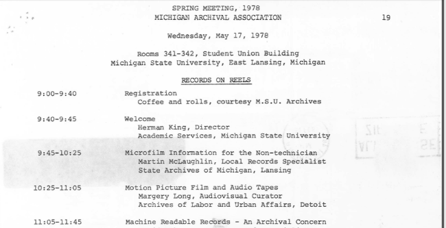 Portion of page one of the 1978 Spring Meeting Program.